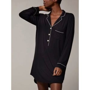 Love & Lore Black Piped Sleep Shirt